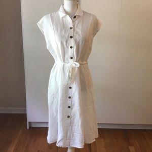 NWT MNG linen blend midi shirt dress tie waist M